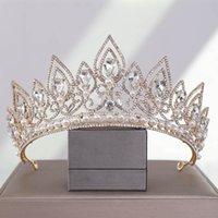 Hair Clips & Barrettes Luxury Drop Shape Crystal CrownWedding Accesories Women Princess Birthday Party Wedding Imitation Pearl Bridesmaid Ti