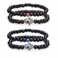 2Pcs Handmade Elastic 6mm Black Agate Kabbalah Strands Bracelet Natural Stone 8mm 10mm Evil Blue Eye Hamsa Fatima Hand Charm Couples Bracelets Lover Jewelry