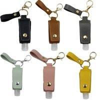 Storage Bottles & Jars Travel Hand Sanitizer Empty Refillable Bottle With Faux Leather Holder Keychain