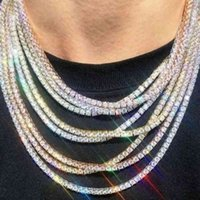 Catene ghiacciate Gioielli Diamante Diamond Tennis Mens Hip Hop Collana 3mm 4mm Gold Silver Collane