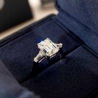 S925 Silver Charm Punk Band Ring с прямоугольником Форма Diamond для Женщин Объединение Ювелирные Изделия Подарок ПС8829