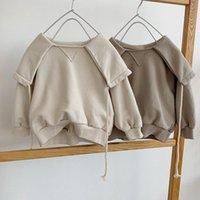 T-shirts Children's Autumn And Winter Top Korean Fashion Big Lapel Drawstring Fleece Sweater Boys Clothes Kids Girls