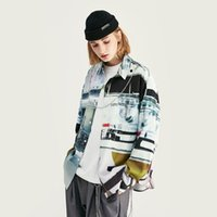 Men's Casual Shirts EWQ   And Women's Wear 2021 Spring Streetwear Trend Laboratory Digital Printing Loose Long Sleeve Shirt For Male 9Y1522