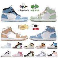 Nike Air Jordan Retro 1 1s Off White Travis Scott 1 2020 Toe Mid Chicago preto metálico ouro Jumpman 1 1s alta OG Bio Corte Mens Basketball sapatos de Sneakers Retro