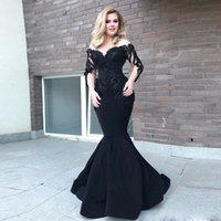 Siyah Mermaid Uzun Kollu Mermaid Abiye Boncuklu Suudi Arapça Sheer Boyun Saten Akşam elbise Sweep Tren Balo Elbise