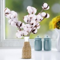 Naturally Dried Cotton Stems Farmhouse Artificial Flower Filler Floral Decor Fake DIY Garland Home Wedding Decorative Flowers & Wreaths
