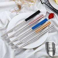 4Colors Edelstahl Essstäbchen Metallhackungsstifte Tischwares Silber Gold Multicolor Geschirr Hochzeit Festivalfestival