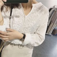 Lizhiqi Japanese and Korean casual spring and summer women's wear V-neck Embroidery Flower loose size long sleeve white shirt