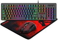 Tangentbord Mus Combos Redrame S107 Gaming Manipulator RGB Backlit 3200 dpi för Windows PC (tangentbord och Pad Set)