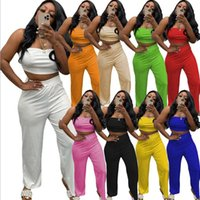 Plus size 2xl Women Outfits Solid Color Tracksuits Strapless Pants 2 Pieces Set Summer Clothes White Black Crop Tees Leggings Jogging suit Casual Sexy Sweatsuits 356