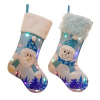 Led Glowing Christmas Tree Pendant Ornaments With Lights Large Stocking Socks Gift Bag Candy Bags Xmas Decoration For Santa Clause NHd8811