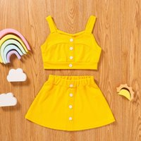 Ribbed Girls Clothes Sets Summer Toddler Kids Baby Solid Strapless Bottons Tops Tee Skirts Set Outfits Vetement Fille 2021 Clothing