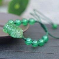 Natural Green Chalcedon Bransoletka Rzeźbione Pixiu Okrągłe Koraliki Bransoletki Prezent Dla Kobiet Jade Kamienna Biżuteria Zroszony, Strands