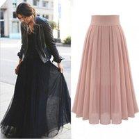 Saias da estação europeia de verão fada temperamento elegante longa saia plissada chiffon roupas