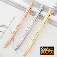 Ballpoint Pens Metal Pen Advertising Gift Rose Gold Custom Logo Lettering Name School And Office Supplies Wholesale