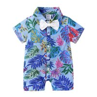 Jumpsuits Infant Toddler Baby Boys Clothing Floral One Piece Shirt Cotton Casual Clothes Short Sleeve Summer Beach Romper