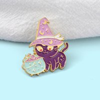 Funny Creative Purple Cat Brooches Cartoon Moon Witch Hat Enamel Pins Alloy Brooch for Girls Denim Shirt Badge Jewelry Gift Friend Bag Accessories