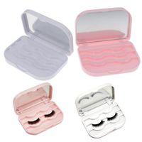 Eyebrow Tools & Stencils Plastic False Eyelash Storage Box Makeup Cosmetic With Mirror Case Organizer Travel Cosmetics Tool