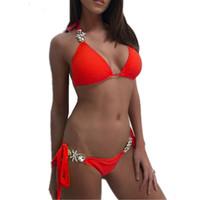 Costume da bagno Diamante Diamante Costume da bagno in cristallo Pizzo Bikini Set Brasiliano Costumi da bagno Push up Swimwear Donne Sexy Biticini 0009