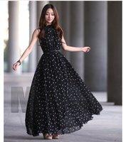 Casual Dresses Designer New Round Dot Chiffon Dress, Sleeveless Vest Wide Swing Skirt, Stand Collar (belt Free)