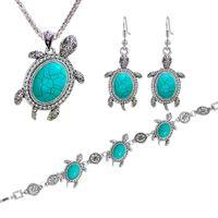 all'ingrosso tartaruga braccialetto orecchino mare tartaruga pendente del pendente Braccialetto di fascino gioielli 3pcs setsilver piastra singolo pezzo