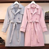 Women's Trench Coats Extra Large Size Tops Woman Jacket Spring Double-breasted Sashes Casual Loose Windbreaker Thin Coat Lady Elegant Outerw