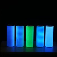 Two Functions Glow in the dark UV Color Changing Tumbler 20oz Sublimation Tumbler Sun Light Sensing Stainless Steel Straight Skinny Tumbler with Straws