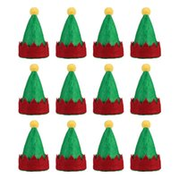 Christmas Decorations Amosfun 12pcs Mini Elf Caps Design Lollipop Hats Decors Cute Nonwoven Candy Packing Supplies For Home S