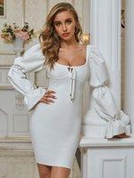 Todos 2021 Chic Blanco Mini vestido de encaje Diseño de encaje Mangas conmovedores Largo Celebrity Party Vendaje Vestidos casuales
