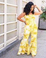Women's Jumpsuits & Rompers OMSJ Elegant Womens Yellow Tie Dye Printed Fashion Wide Leg Pants 2021 Summer Casual Sleeveless Bow Lace-up Jump