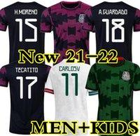 21 22 México camisas de futebol Copa América Camisetas 2022 Chicharito Lozano dos Santos Moreno Alvarez Guardado 2021 Camisas de Futebol Homens + Kids Sets Kit