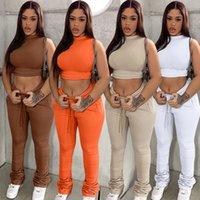 Survey Sporty Jogging длинные брюки для женщин без рукавов Slim Fit Crop Tops и высокая талия Drawstring StatedFant Athleisure Athleisure