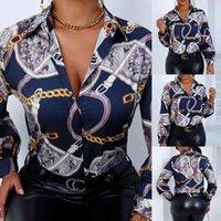 디자인 플러스 사이즈 여성 블라우스 칼라 긴 소매 체인 프린트 느슨한 캐주얼 셔츠 여성 탑 및 블라우스 D25