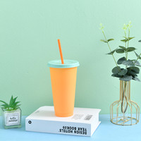 Summer 24oz Color Changing Cups Iced Coffee Drinkware PP Magic plastic cup Reusable with Straw Set Cold Drink Cups RRD7659