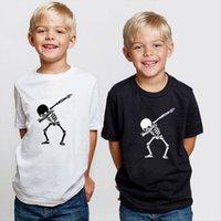 힙합 dabbing 해골 키즈 티셔츠 펑크 블랙 셔츠 어린이 소년 소녀 재미 있은 두개골 십대 유아 여름 옷