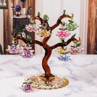 Árbol de loto de cristal de cristal con 12 unids fengshui artesanía para el hogar decoración estatuillas año de navidad regalos de souvenirs ornamento objetos decorativos