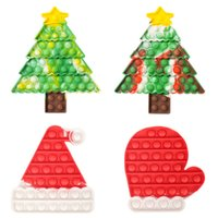 SD004 Christmas Hat Tree Glove Puzzle Toy Push Finger Fidget Sensory Bubble Decompression Kids Anxiety Stress Reliever Desktop Educational Toys