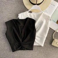Women's Blouses & Shirts Tops V-neck Sexy Shirt Woman Top Women Sleeveless Solid Color Drop Omighty Ladies