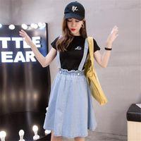 Chicas Estudiante Knee Longhtthtthin Tela Denim Vestidos Casual Vestidos Moda Escuela Estilo Corto 2021 Hot-Selling Trendy