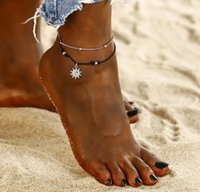 Bohemia Sun Pendant Beads Anklet Bracelet for Women Double Layer Rope Anklets in the Summer Barefoot Beach Jewelry Gifts