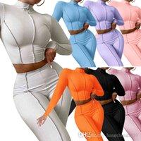 Caída de invierno Mujeres Trajes de 2 piezas Conjunto de 2 piezas Color sólido Hilo de manga larga Hilo de suéter Leggings Sweatsuit Trajes de yoga Sudadera Sudaderas Trajes