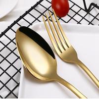 4 Takım Paslanmaz Çelik Çatal Altın Siyah Mix Renkler Mavi Gümüş Kaplama Yemek Bıçağı Çatal Kaşık Kiti GWE5721