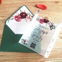 Tarjetas de felicitación Tarjeta elegante de la invitación de la boda de la vendimia Personalizada 10 unids Venda acrílico con envoltura de vellum