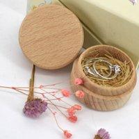 Beech Wood Pequeñas cajas de almacenamiento redondo Caja de anillo vintage retro para boda Caja de joyería de madera natural ZZE5640