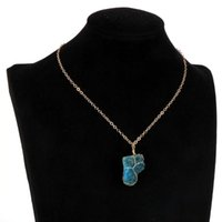 Original Blue Apatite Pendant Necklace Men Women Wire Wrap Irregular Natural Stone Gold Silver Color O Chain Choker Jewelry Necklaces