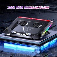 Laptop Cooling Pads X500 RGB Fans Pad Stand Holder Adjustable Gaming Riser With 2 Quiet Turbo For Notebook Computer