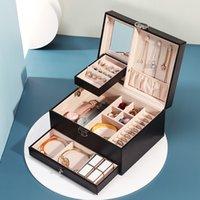 Casegrace PU bijoux en cuir boîte multi-couche Grand velours Montre boucle d'oreille Collier Bague bijoux Organisateur cas WLL784