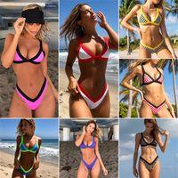 Meihuida frauen zwei stück bikini 2020 patchwork sexy sommer gestreifte bikini set treffer farbe gepolsterte schieben hoch schwimmen badeanzug biquini 694 z2