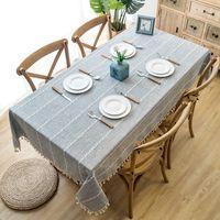 Сплошная декоративная льняная скатерть с кисточкой водонепроницаемый утолщение прямоугольной свадьбы обеденный стол крышка чайной столовой ткани