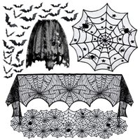 5pack Halloween Party Decorations Tablecloth Runner Black Lace Round Spider Cobweb Table Cover Fireplace Mantel Scarfs Spiderweb Scarf Lampshade